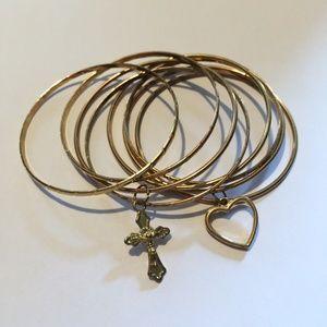 Set of Vintage Bangle Bracelet with charm